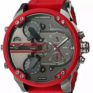 Diesel Mens Red Silicone Stainless Steel Watch